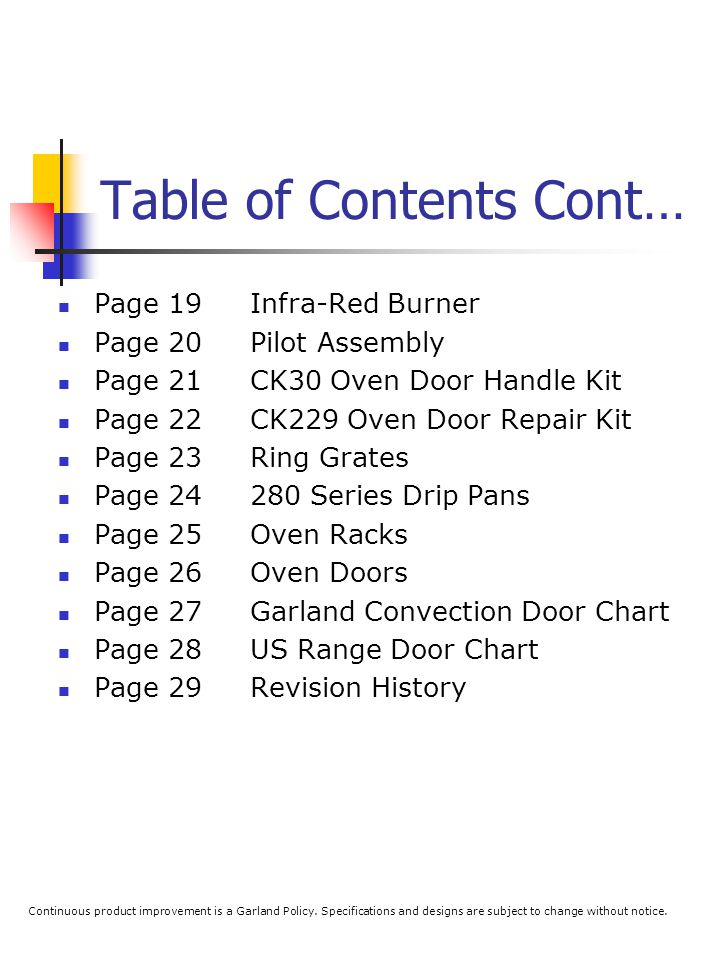 Table of Contents Cont… Page 19Infra-Red Burner Page 20Pilot Assembly Page 21CK30 Oven Door Handle Kit Page 22CK229 Oven Door Repair Kit Page 23Ring G