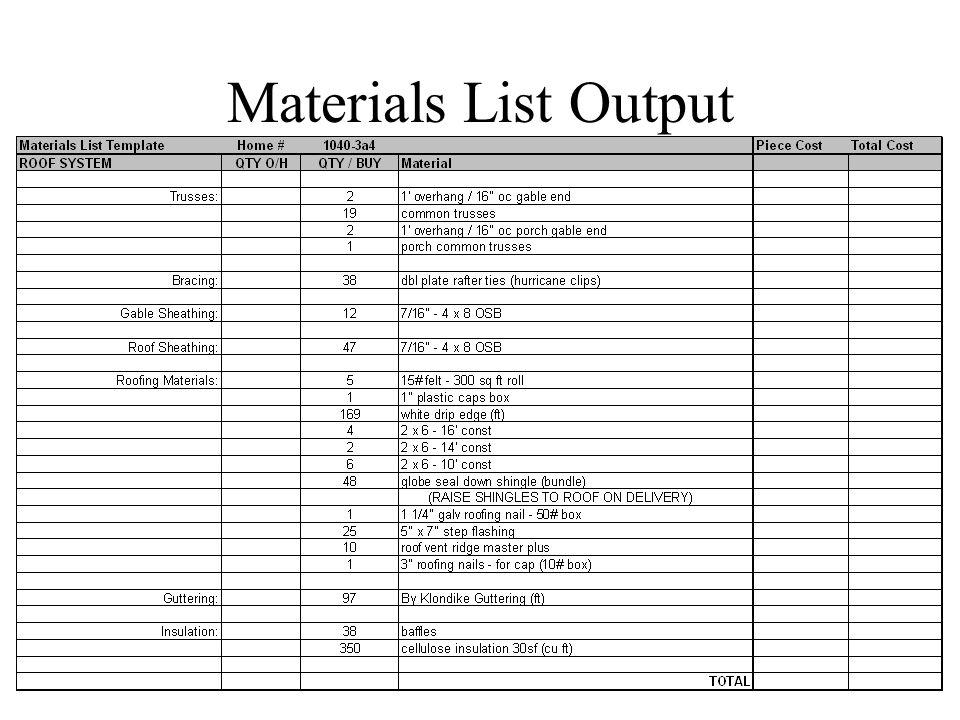 Materials List Output