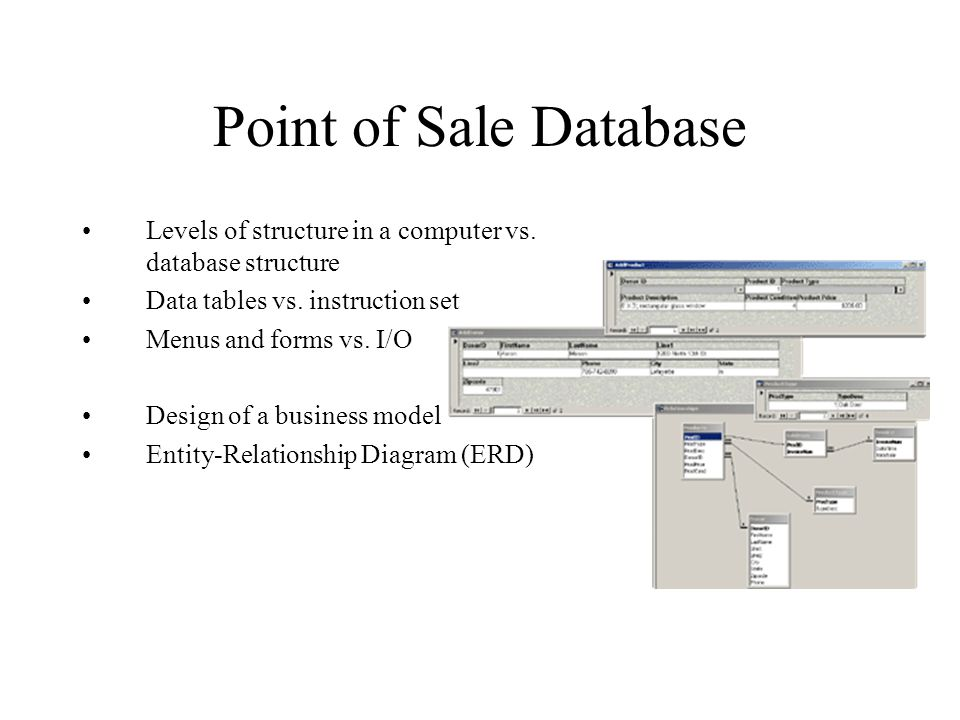 Point of Sale Database Levels of structure in a computer vs.