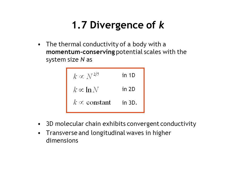 1.7 Divergence of k The thermal conductivity of a body with a momentum-conserving potential scales with the system size N as 3D molecular chain exhibi