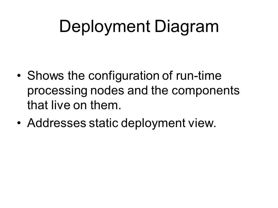 Deployment Diagram Shows the configuration of run-time processing nodes and the components that live on them.