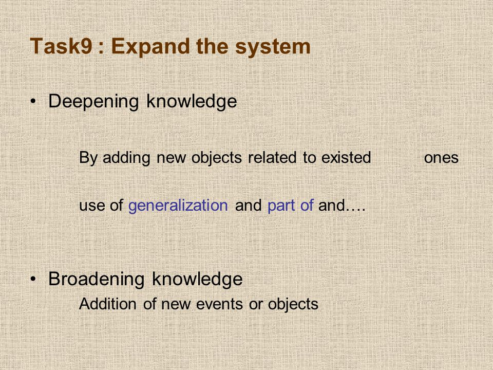 Task9 : Expand the system Deepening knowledge By adding new objects related to existed ones use of generalization and part of and….