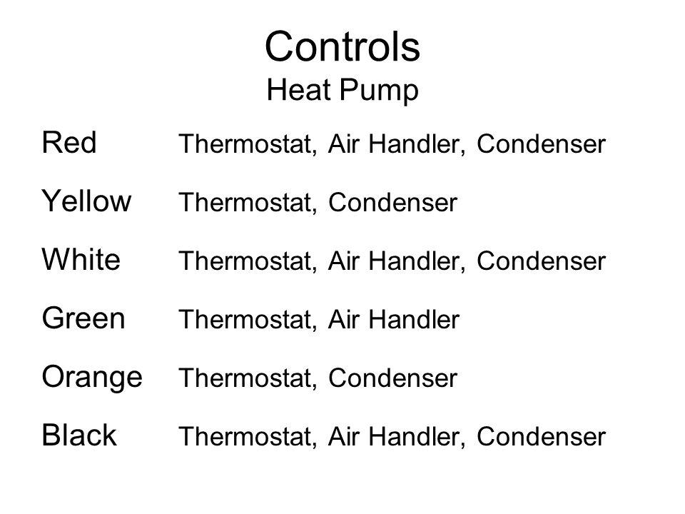Controls Heat Pump Red Thermostat, Air Handler, Condenser Yellow Thermostat, Condenser White Thermostat, Air Handler, Condenser Green Thermostat, Air Handler Orange Thermostat, Condenser Black Thermostat, Air Handler, Condenser