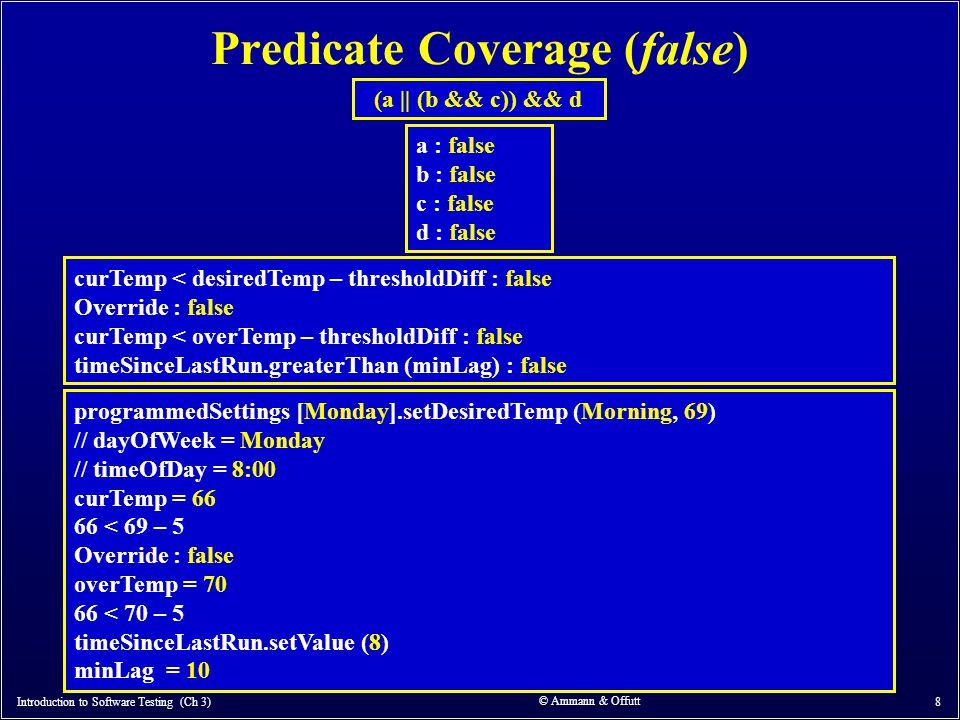 © Ammann & Offutt 8 Predicate Coverage (false) Introduction to Software Testing (Ch 3) (a    (b && c)) && d curTemp < desiredTemp – thresholdDiff : fa