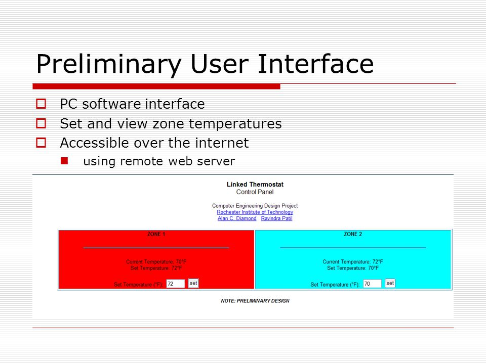 Preliminary User Interface  PC software interface  Set and view zone temperatures  Accessible over the internet using remote web server