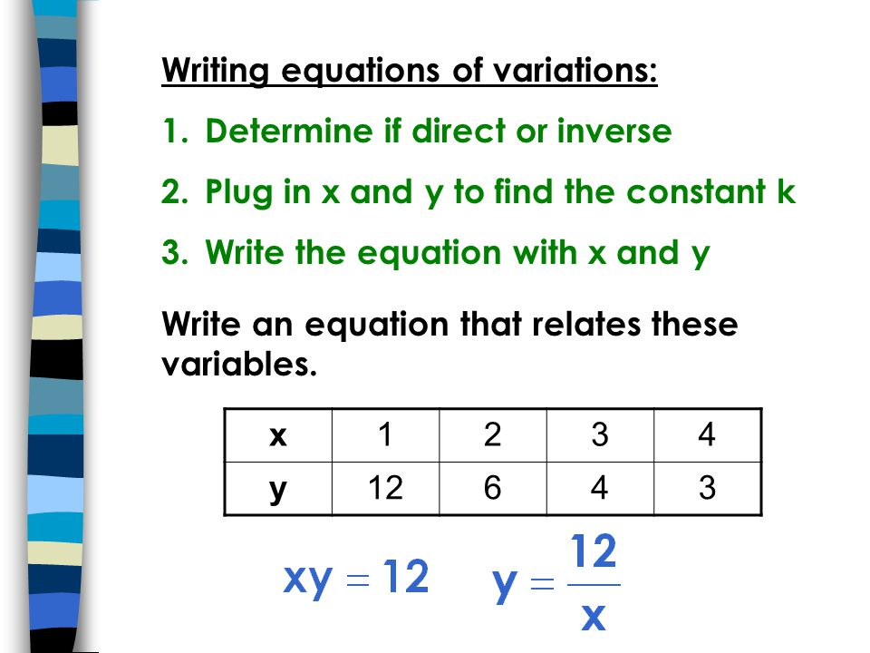 Writing equations of variations: 1.Determine if direct or inverse 2.Plug in x and y to find the constant k 3.Write the equation with x and y Write an equation that relates these variables.