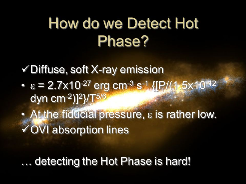 Canonical ISM Assumptions SNR's dominate ISM physics Actually, porosity is pretty low Thermal pressure balance Actually, P hot ≈ 26P warm Mass transfer between hot and cold phase Actually, magnetic fields inhibit this SNR's dominate ISM physics Actually, porosity is pretty low Thermal pressure balance Actually, P hot ≈ 26P warm Mass transfer between hot and cold phase Actually, magnetic fields inhibit this