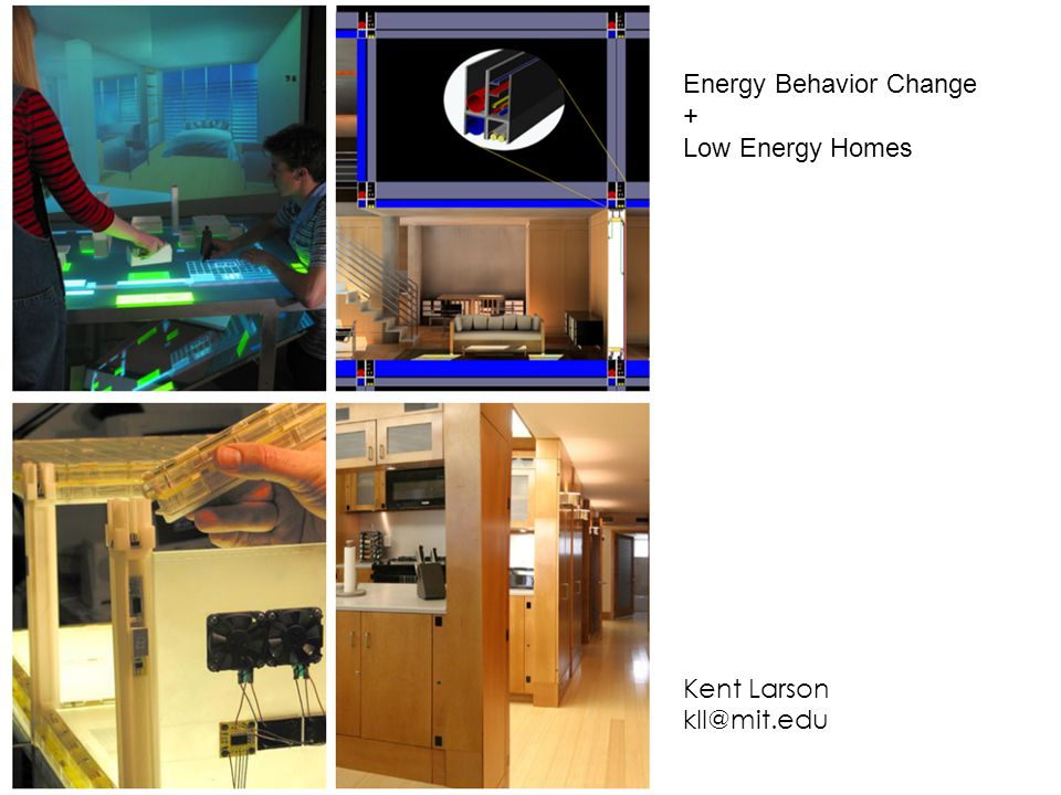 Just In Time Delivery Energy Behavior Change + Low Energy Homes Kent Larson kll@mit.edu