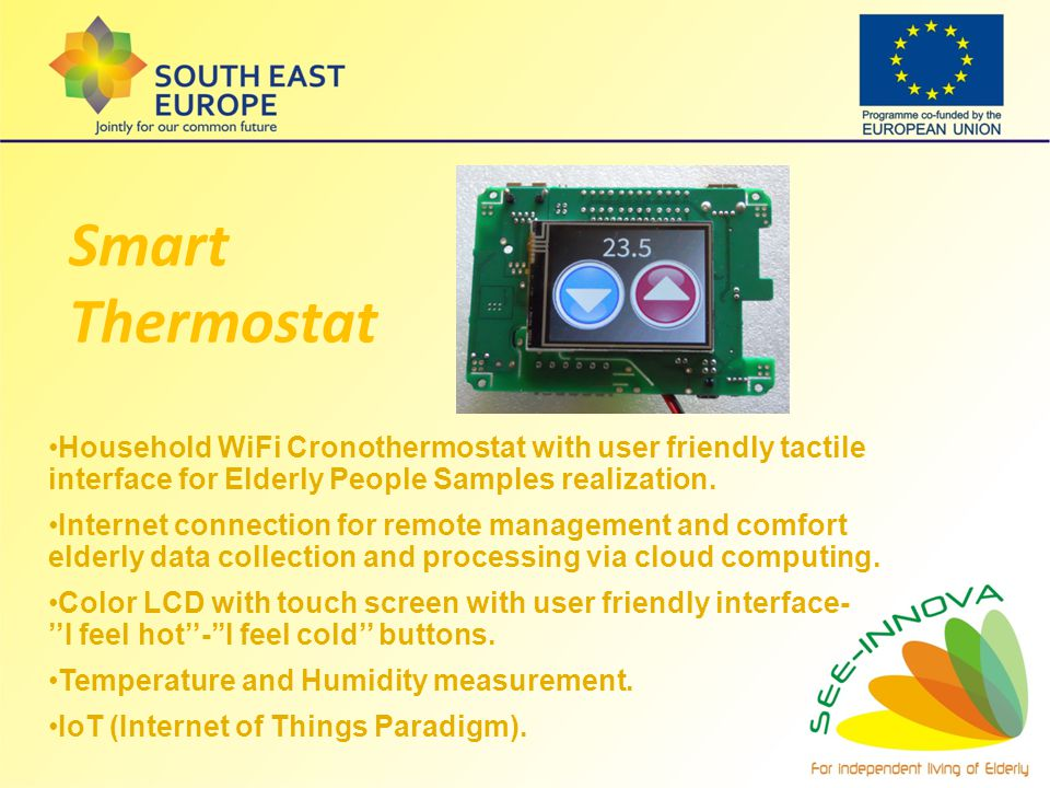 Household WiFi Cronothermostat with user friendly tactile interface for Elderly People Samples realization. Internet connection for remote management