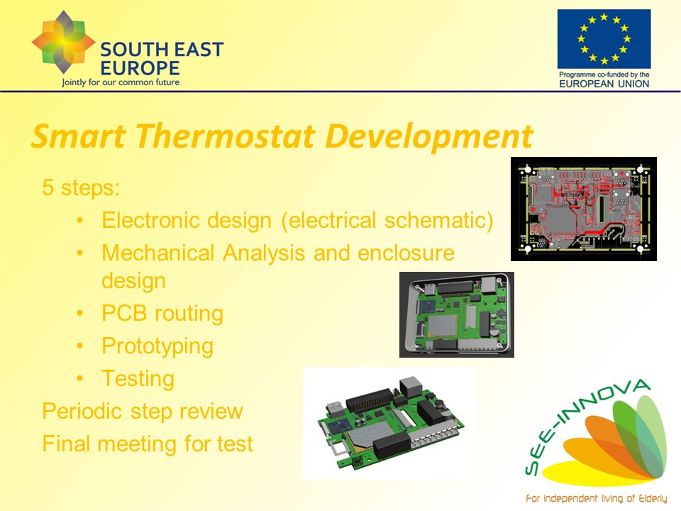Smart Thermostat Development 5 steps: Electronic design (electrical schematic) Mechanical Analysis and enclosure design PCB routing Prototyping Testin