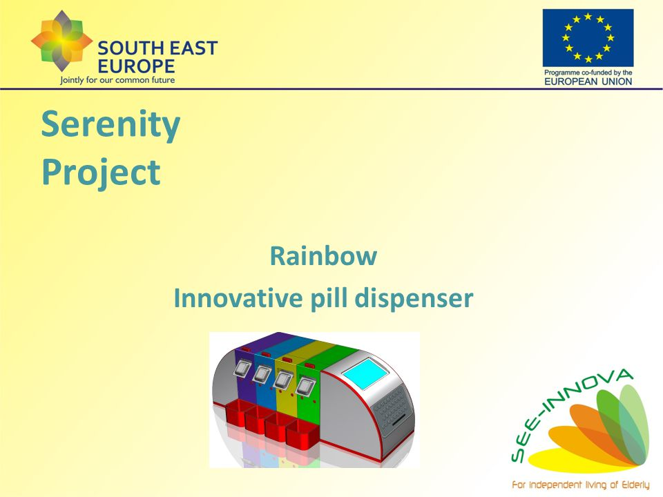 Serenity Project Rainbow Innovative pill dispenser