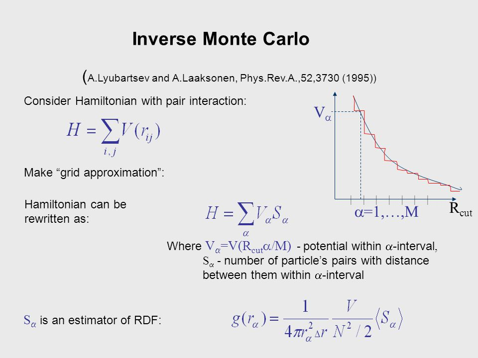 In the vicinity of an arbitrary point in the space of Hamiltonians one can write: where  = 1/kT, Inverse Monte Carlo with