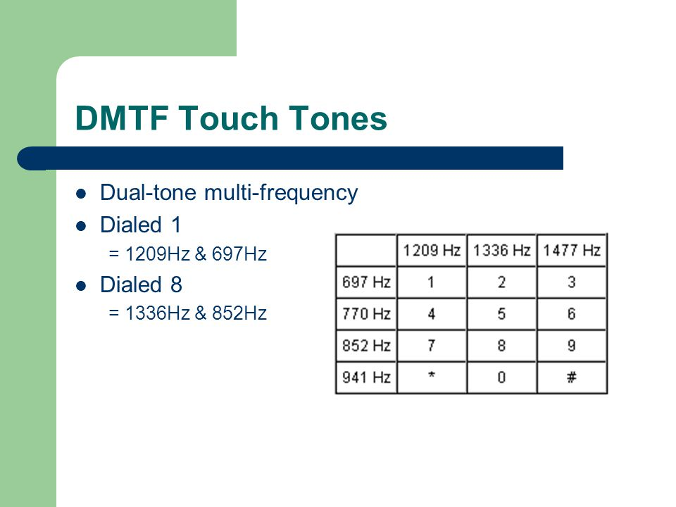 DMTF Touch Tones Dual-tone multi-frequency Dialed 1 = 1209Hz & 697Hz Dialed 8 = 1336Hz & 852Hz