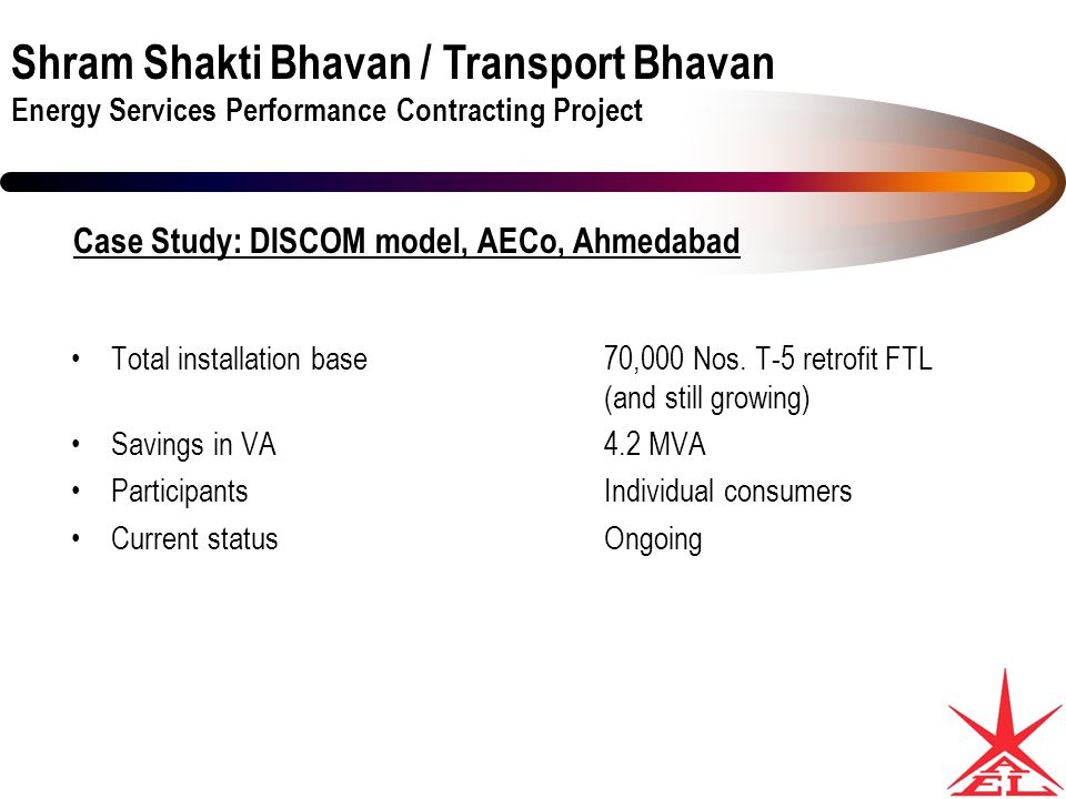 Shram Shakti Bhavan / Transport Bhavan Energy Services Performance Contracting Project Case Study: DISCOM model, AECo, Ahmedabad Total installation base70,000 Nos.