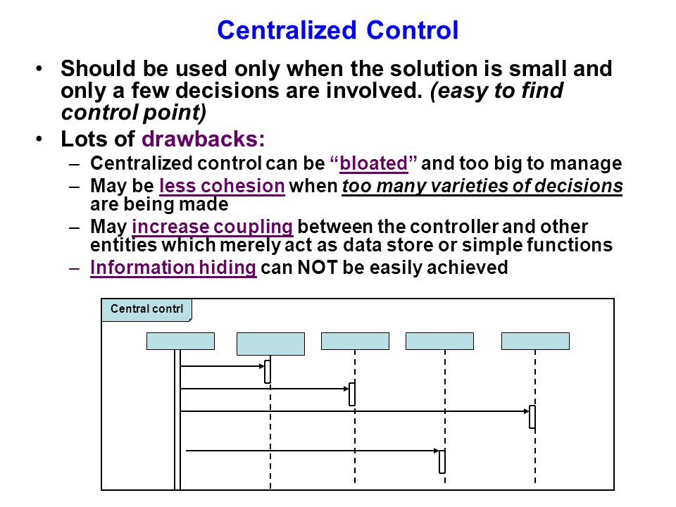 Centralized Control Should be used only when the solution is small and only a few decisions are involved.
