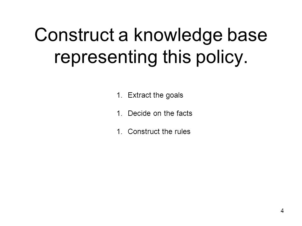4 Construct a knowledge base representing this policy. 1.Extract the goals 1.Decide on the facts 1.Construct the rules