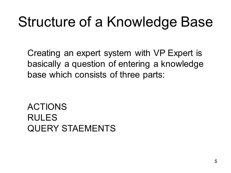 Structure of a Knowledge Base 5 Creating an expert system with VP Expert is basically a question of entering a knowledge base which consists of three
