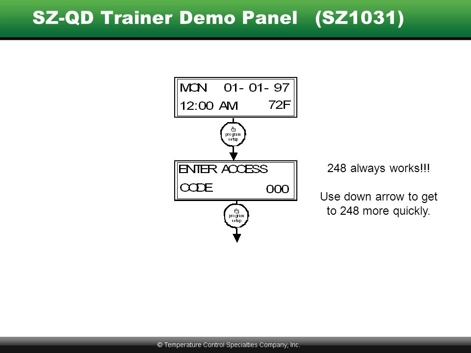 SZ-QD Trainer Demo Panel(SZ1031) 248 always works!!! Use down arrow to get to 248 more quickly.