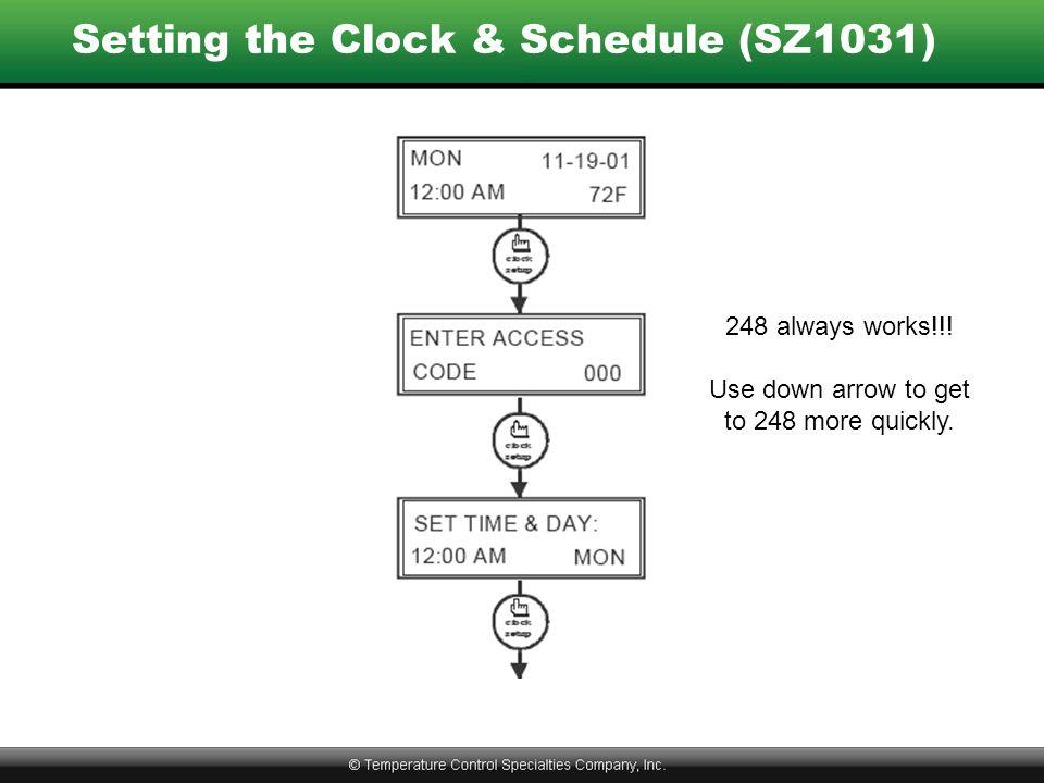 Setting the Clock & Schedule (SZ1031) 248 always works!!.