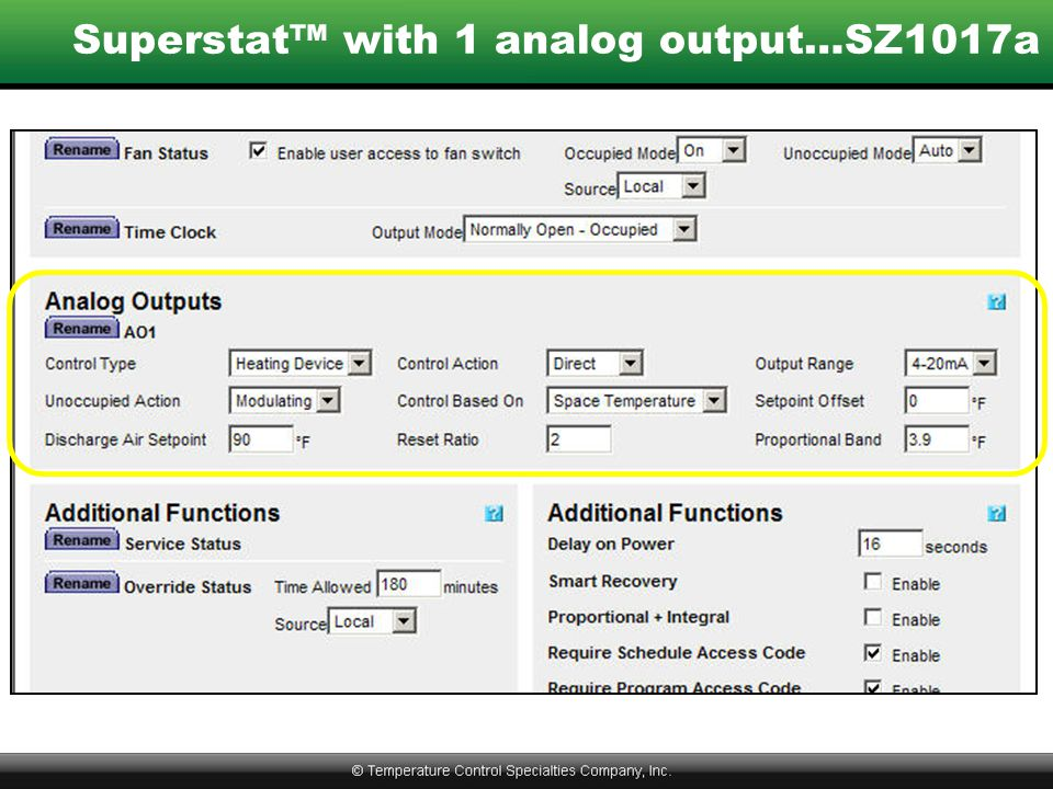 Superstat™ with 1 analog output…SZ1017a