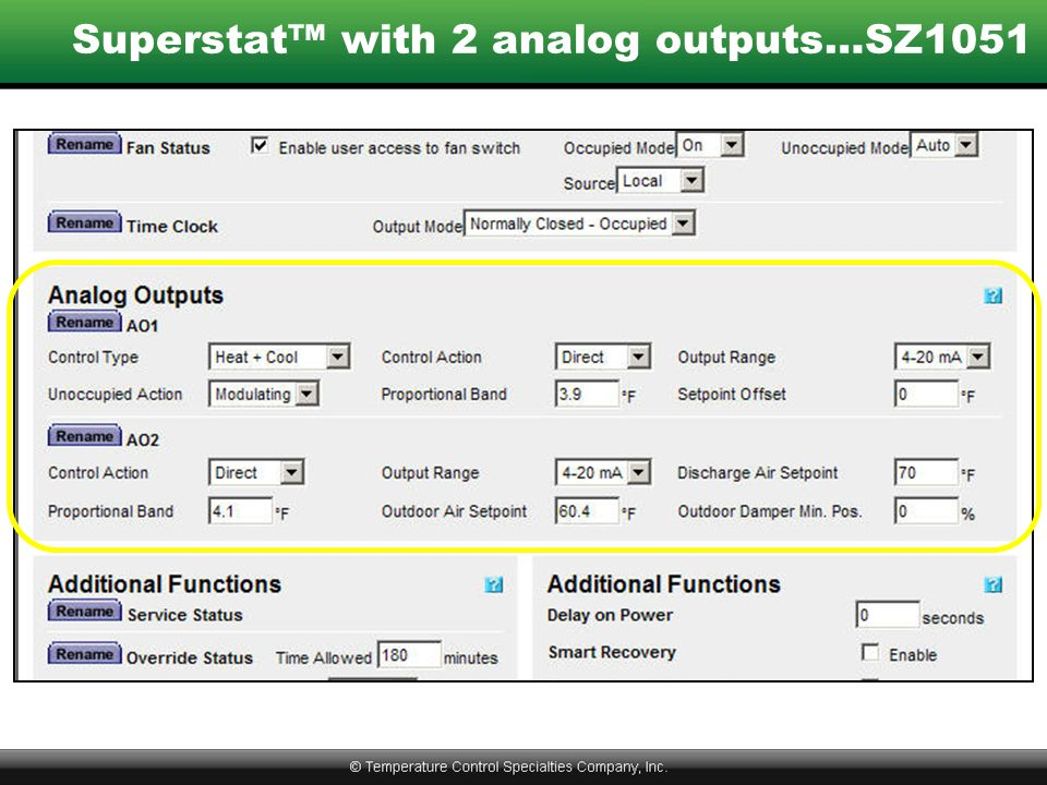 Superstat™ with 2 analog outputs…SZ1051