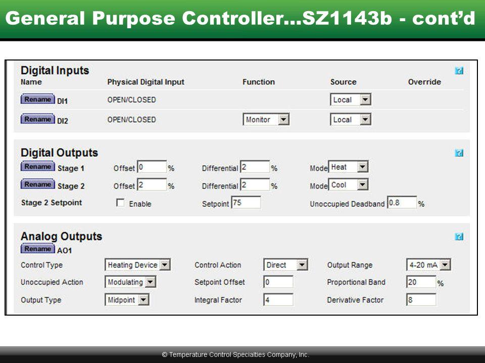 General Purpose Controller…SZ1143b - cont'd