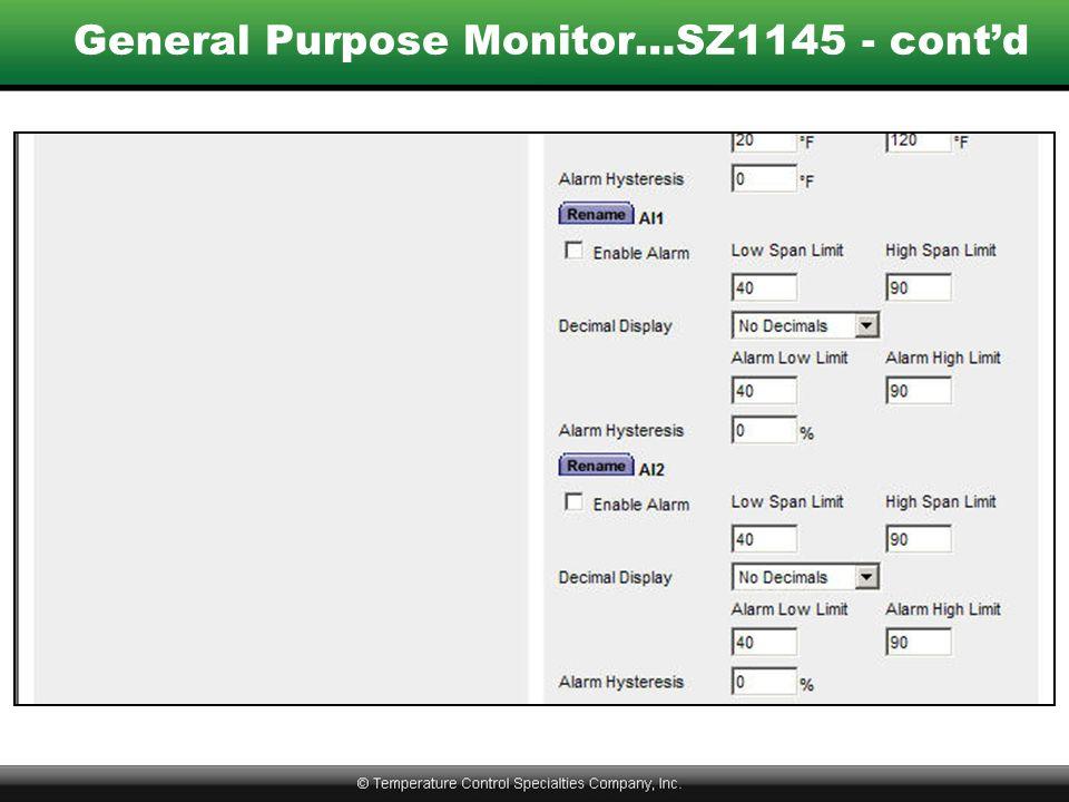 General Purpose Monitor…SZ1145 - cont'd
