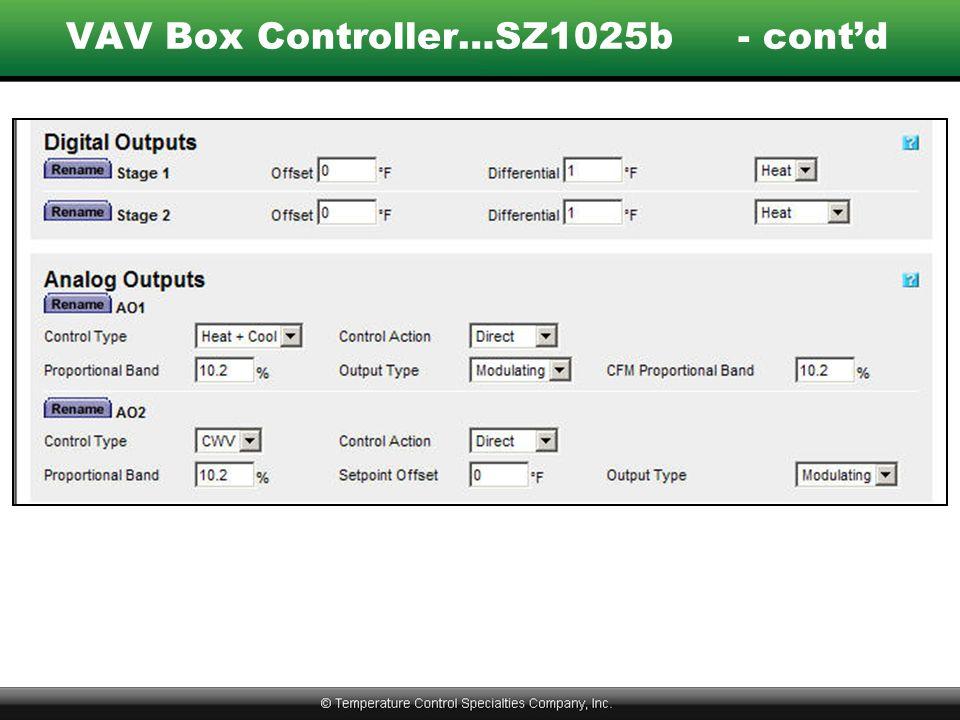 VAV Box Controller…SZ1025b- cont'd