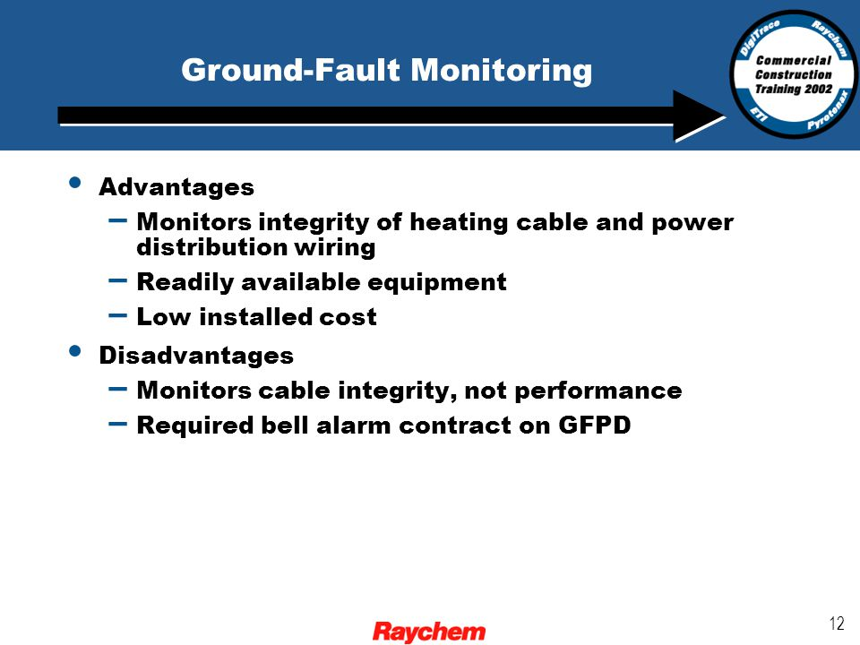 12 Advantages – Monitors integrity of heating cable and power distribution wiring – Readily available equipment – Low installed cost Disadvantages – Monitors cable integrity, not performance – Required bell alarm contract on GFPD Ground-Fault Monitoring
