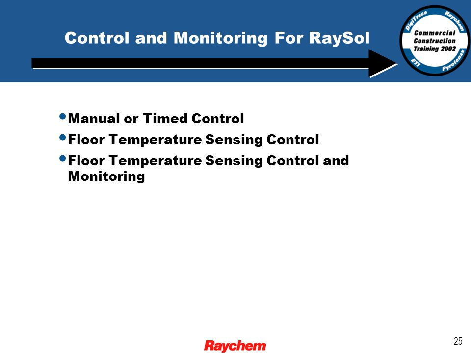 25 Control and Monitoring For RaySol Manual or Timed Control Floor Temperature Sensing Control Floor Temperature Sensing Control and Monitoring