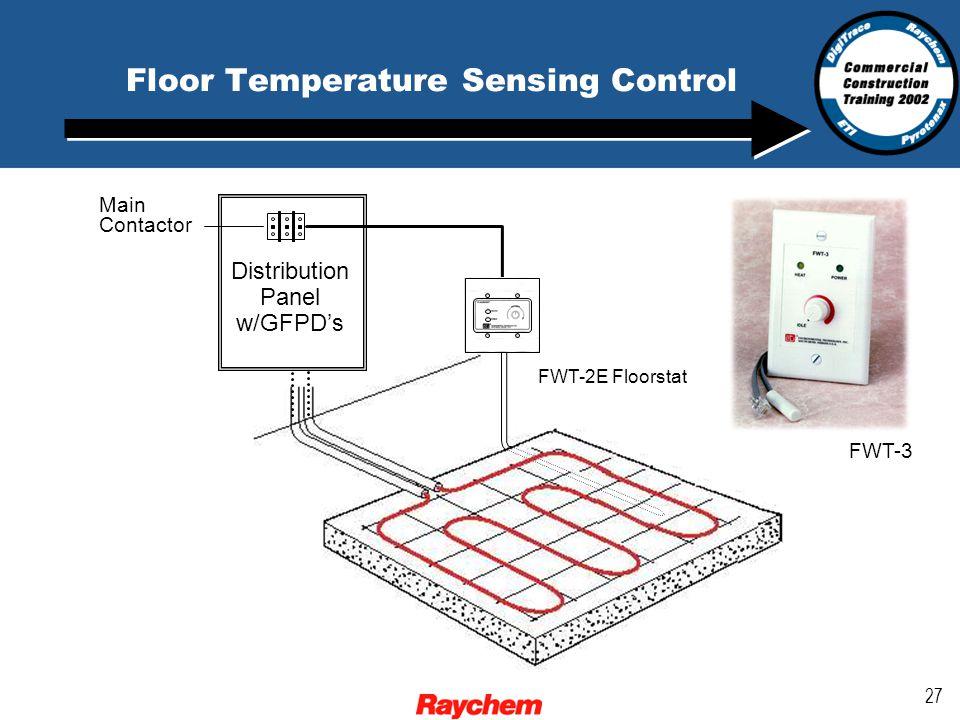 27 Floor Temperature Sensing Control Distribution Panel w/GFPD's Main Contactor FWT-2E Floorstat FWT-3