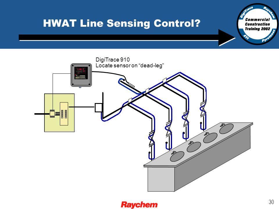 30 HWAT Line Sensing Control DigiTrace 910 Locate sensor on dead-leg