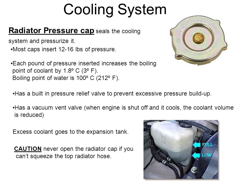 Cooling System Radiator Pressure cap seals the cooling system and pressurize it. Most caps insert 12-16 lbs of pressure. Each pound of pressure insert