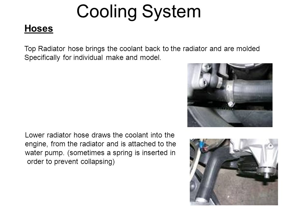Cooling System Hoses Top Radiator hose brings the coolant back to the radiator and are molded Specifically for individual make and model. Lower radiat