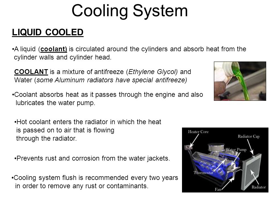 Cooling System LIQUID COOLED A liquid (coolant) is circulated around the cylinders and absorb heat from the cylinder walls and cylinder head. COOLANT
