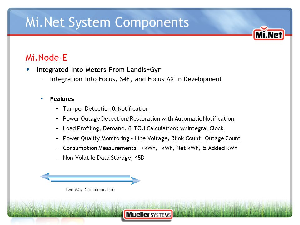 Mi.Net System Components Mi.Node-E Integrated Into Meters From Landis+Gyr −Integration Into Focus, S4E, and Focus AX In Development Features −Tamper D