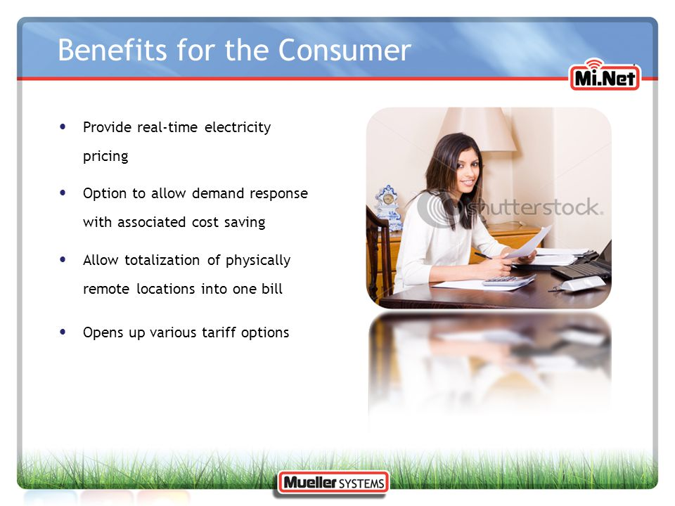 Benefits for the Consumer Provide real-time electricity pricing Option to allow demand response with associated cost saving Allow totalization of phys