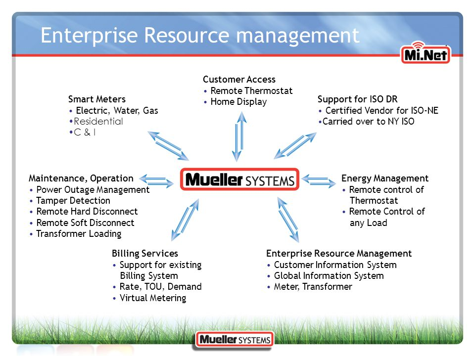 Enterprise Resource management Customer Access Remote Thermostat Home Display Smart Meters Electric, Water, Gas Residential C & I Support for ISO DR C