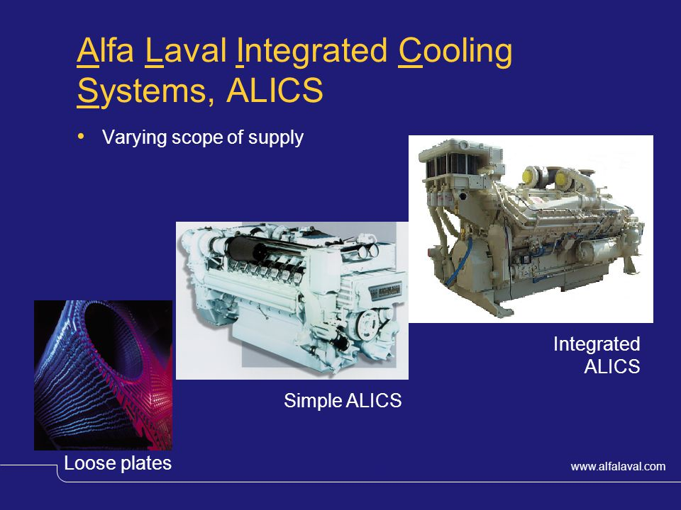 www.alfalaval.com © Alfa LavalSlide 17 Alfa Laval Integrated Cooling Systems, ALICS Varying scope of supply Loose plates Simple ALICS Integrated ALICS