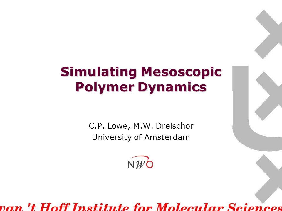 Simulating Mesoscopic Polymer Dynamics C.P. Lowe, M.W. Dreischor University of Amsterdam