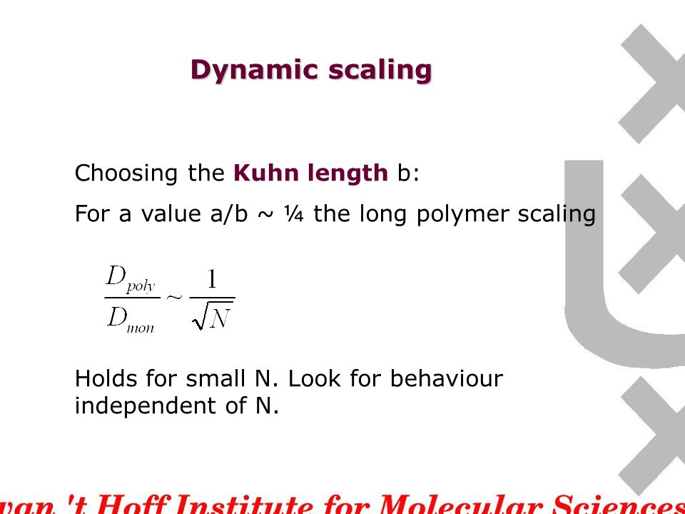 Dynamic scaling Choosing the Kuhn length b: For a value a/b ~ ¼ the long polymer scaling Holds for small N.