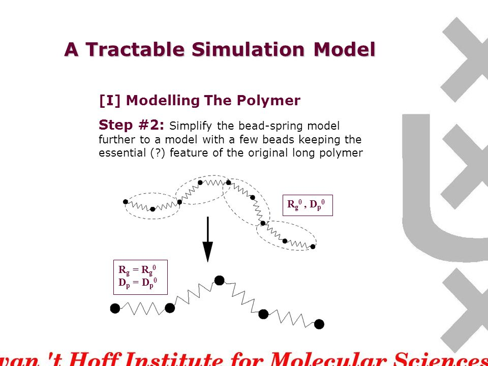 A Tractable Simulation Model [I] Modelling The Polymer Step #2: Simplify the bead-spring model further to a model with a few beads keeping the essential (?) feature of the original long polymer R g 0, D p 0 R g = R g 0 D p = D p 0