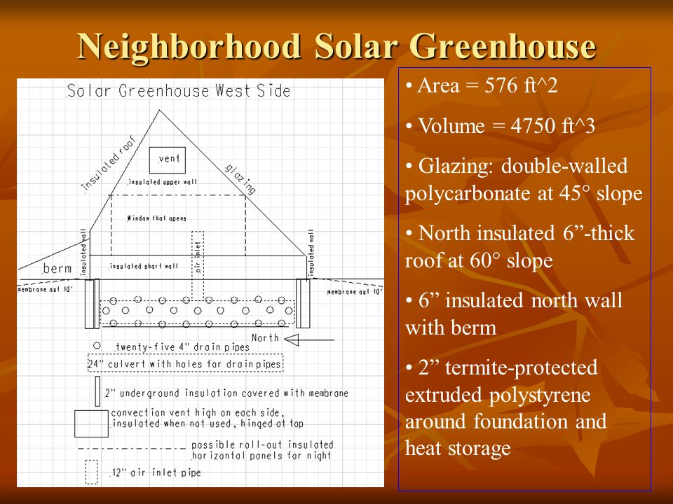 Neighborhood Solar Greenhouse Area = 576 ft^2 Volume = 4750 ft^3 Glazing: double-walled polycarbonate at 45° slope North insulated 6 -thick roof at 60° slope 6 insulated north wall with berm 2 termite-protected extruded polystyrene around foundation and heat storage