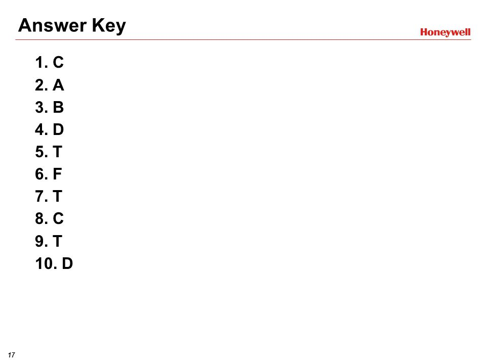 17HONEYWELL - CONFIDENTIAL File Number Answer Key 1.