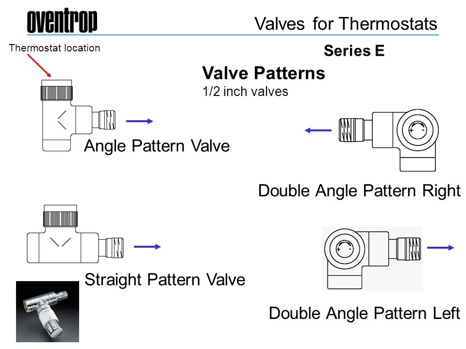 Valve Patterns 1/2 inch valves Valves for Thermostats Series E Double Angle Pattern Left Double Angle Pattern Right Angle Pattern Valve Straight Patte