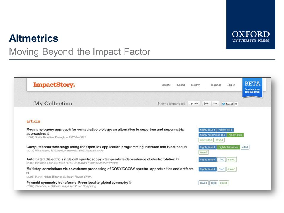 Altmetrics Moving Beyond the Impact Factor