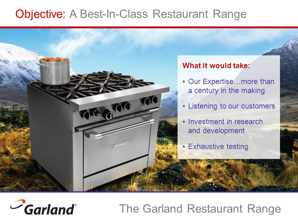 Objective: A Best-In-Class Restaurant Range What it would take: Our Expertise…more than a century in the making Listening to our customers Investment