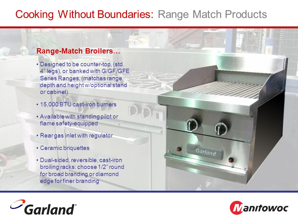 """Range-Match Broilers… Designed to be counter-top, (std. 4"""" legs), or banked with G/GF/GFE Series Ranges, (matches range depth and height w/optional st"""