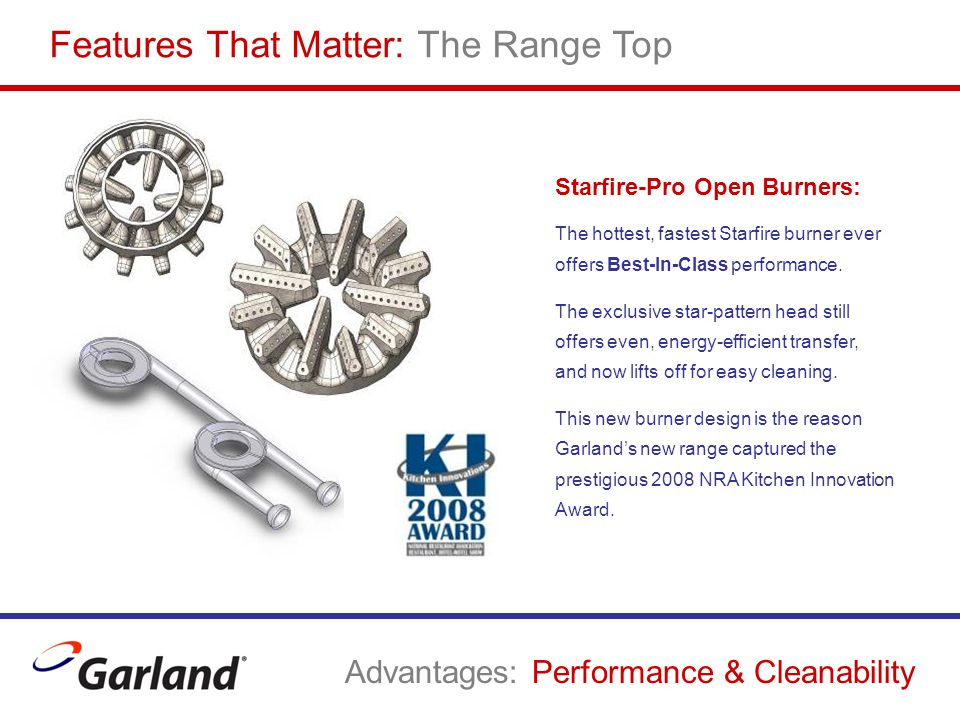 Starfire-Pro Open Burners: The hottest, fastest Starfire burner ever offers Best-In-Class performance. The exclusive star-pattern head still offers ev