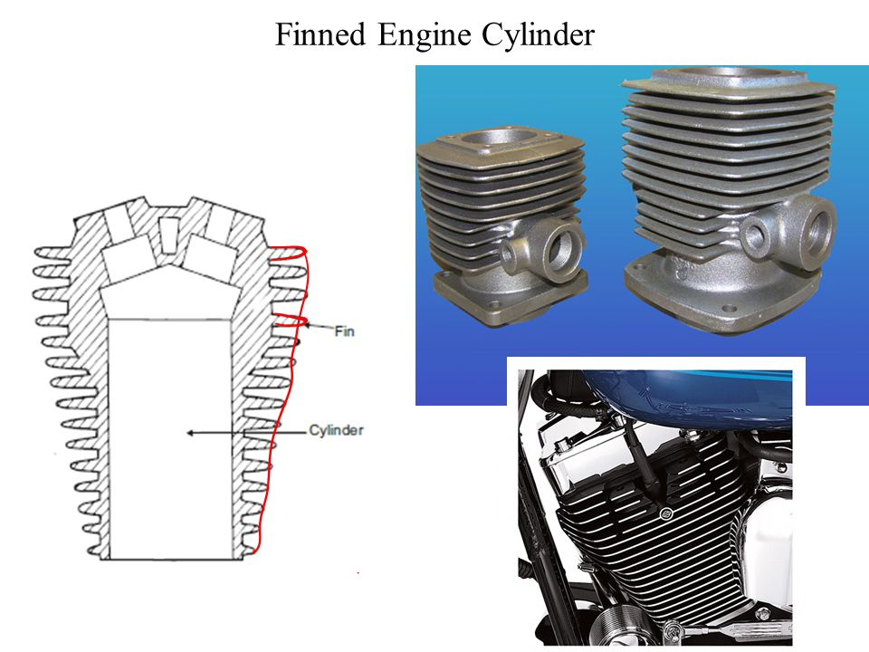 Air Cooled System Air cooled system is generally used in small engines say up to 15-20 kW and in aero plane engines. In this system fins or extended s
